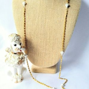 VINTAGE Hearts and Gold Long Necklace-White-Chain